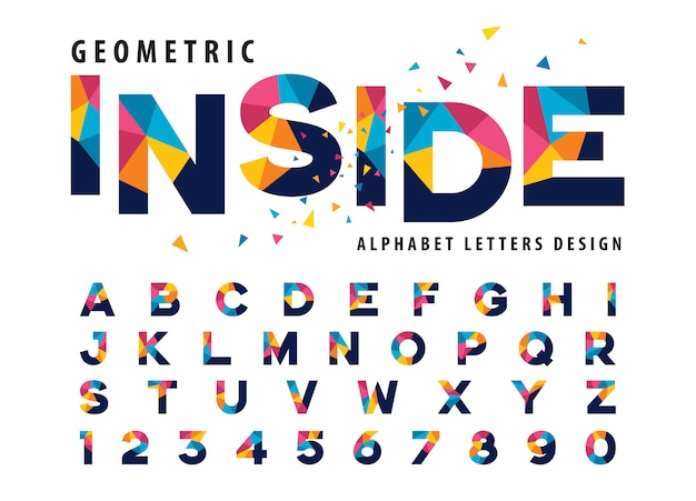 Vector of geometric alphabet letters, colorful triangle letter Premium Vector