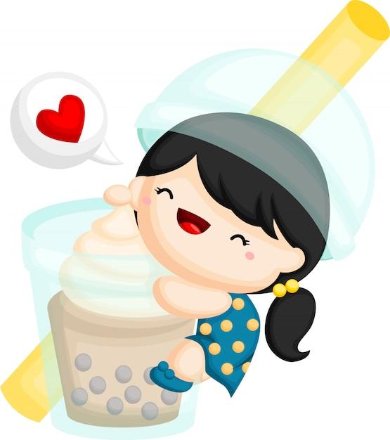A vector of a girl hugging a giant bubble tea Premium Vector