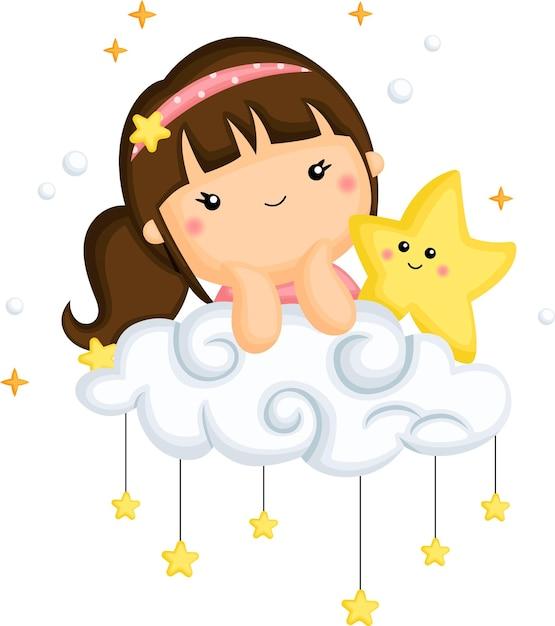 Un vettore di una ragazza e una stella in cima a una nuvola Vettore gratuito