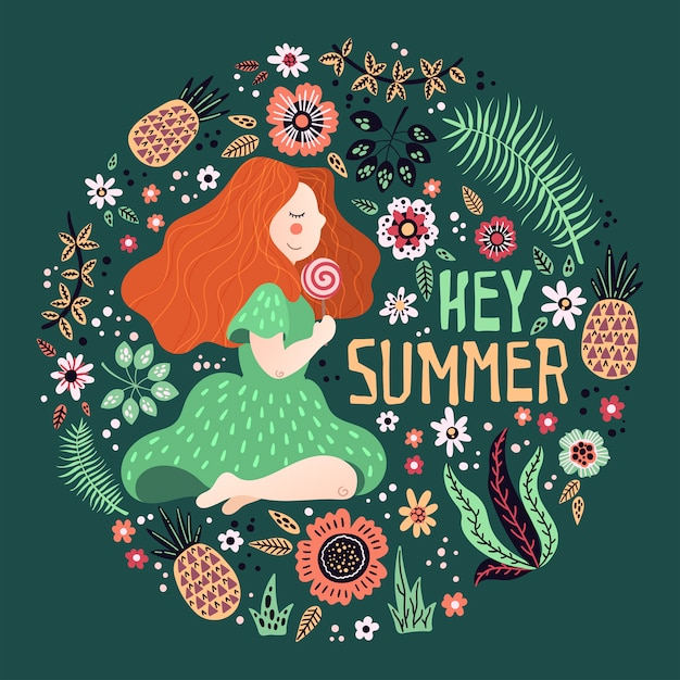 Vector girl surrounded by plants and flowers. lettering: hey summer. Premium Vector