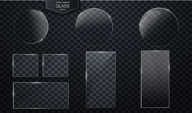 Vector glass banners on transparent background plastic badges or plates with transparency Premium Vector
