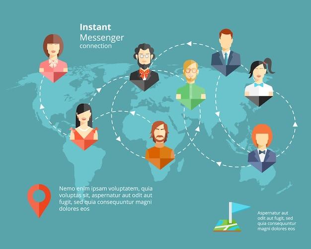 Rete sociale globale di vettore o concetto di messaggistica istantanea Vettore gratuito