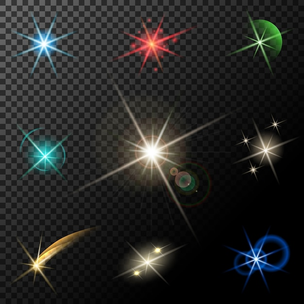 Вектор светящиеся огни, звезды и блестки на прозрачном фоне Бесплатные векторы