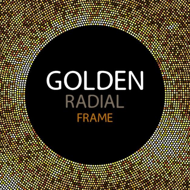 Vector gold disco lights frame or spangles round frame Premium Vector