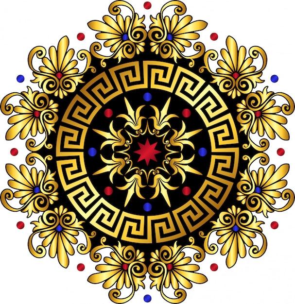 Vector gold greek ornament meander Premium Vector