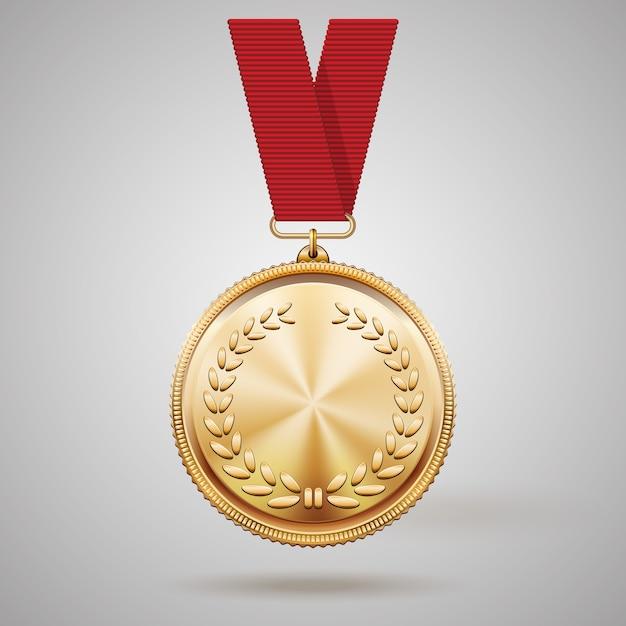 月桂樹の花輪のレリーフの詳細と勝利を勝ち取った最初の配置の達成のための賞の概念を反映した赤いリボンのベクトル金メダル 無料ベクター