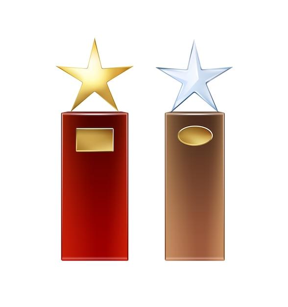 흰색 배경에 고립 copyspace 전면보기에 대 한 큰 빨강, 갈색 기본 및 황금 간판 벡터 황금, 유리 스타 트로피 무료 벡터