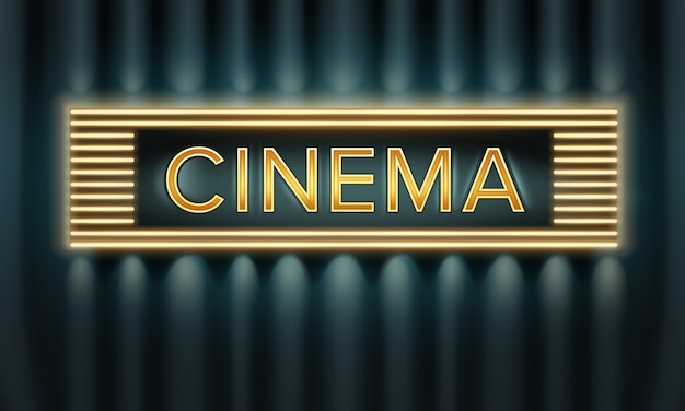 Vector golden illuminated cinema signboard front view on dark background Free Vector