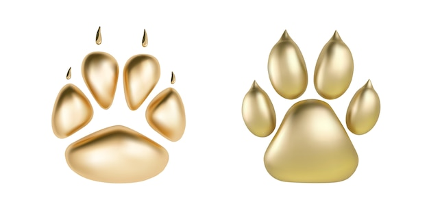 Vector golden paw print of animal logotype or icon isolated on white background Premium Vector