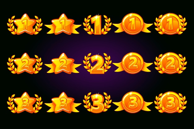ベクトルゴールデン報酬アイコンを設定します。 1位、2位、3位のバリエーションが異なります。月桂樹の勝利とゴールドスターまたはゲーム、ui、バナー、アプリ、インターフェイス、スロット、ゲーム開発。別のレイヤーのアイコン Premiumベクター