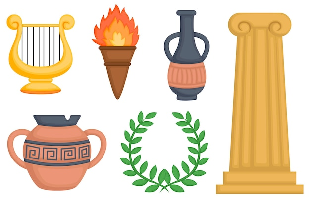 A vector of greek object and pottery Premium Vector