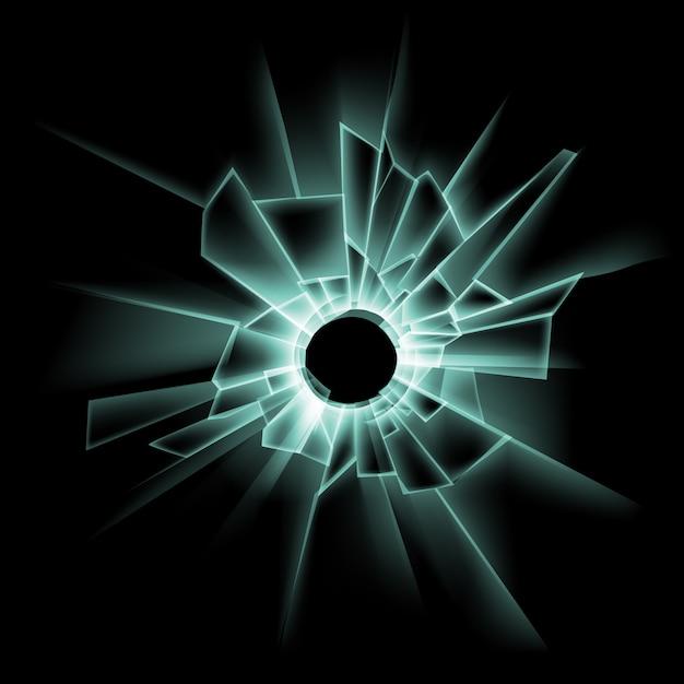 Vector green broken glass window with bullet hole on dark black Premium Vector
