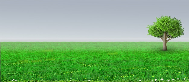 Vector green horizon background tree Premium Vector