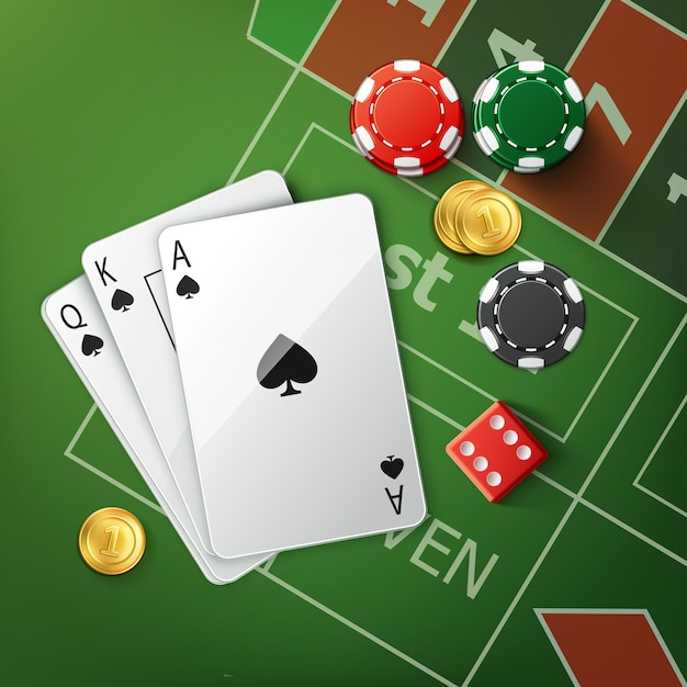 Vector green poker table with playing cards, red dice, gold coins and stacks of casino chips top view Free Vector