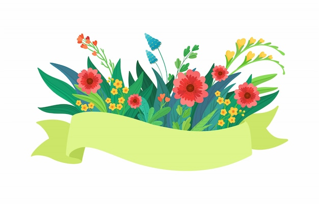 Vector green ribbon with flowers Premium Vector