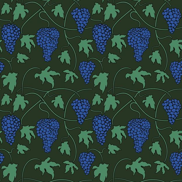 Vector green seamless pattern con grappoli di viti e foglie Vettore gratuito