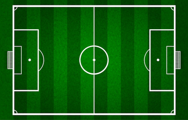 Vector green soccer field or football field, gridiron Free Vector