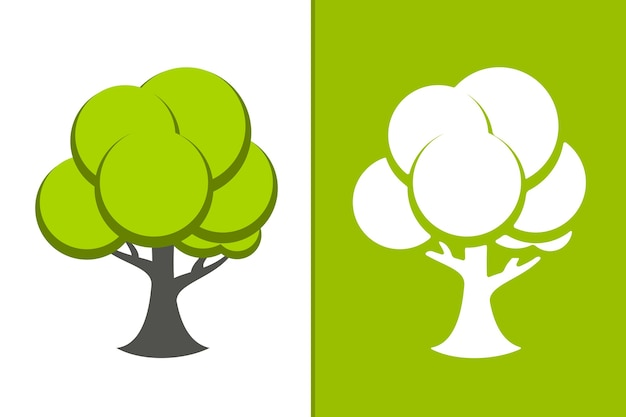 Vector green tree and white tree icon illustration Free Vector