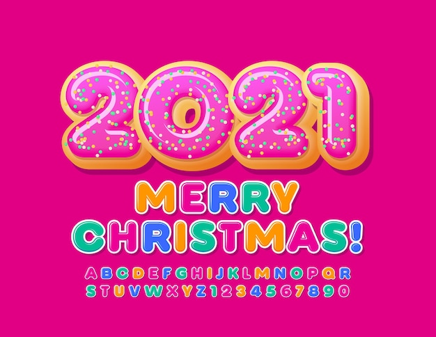 Vector greeting card merry christmas 2021 with donuts. bright kids font. colorful alphabet letters and numbers set Premium Vector
