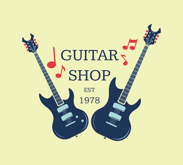 Vector guitar shop logo, emblem with musical notes. musical shop sign illustration Premium Vector