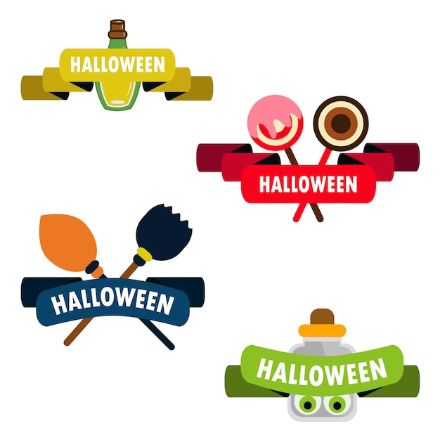 Vector halloween ribbon tag collection Premium Vector