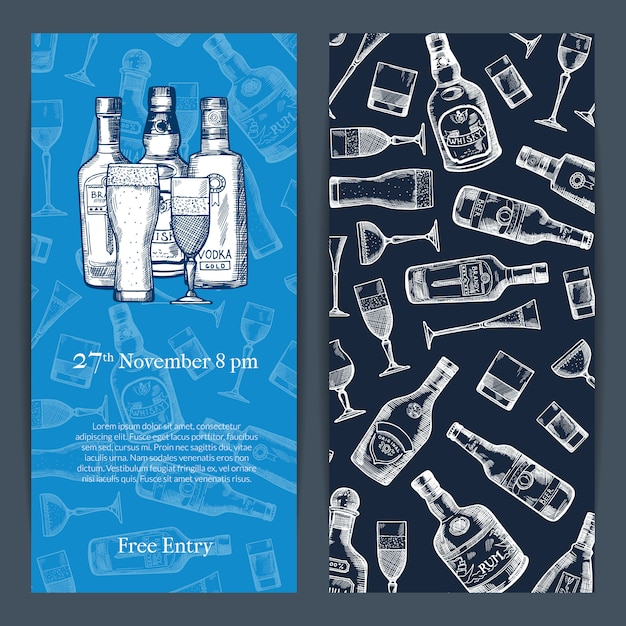 Vector hand drawn alcohol drink bottles and glasses vertical invitation template for party or bar opening illustration Premium Vector