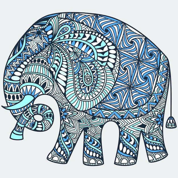 装飾されたインド象とベクトル手描き青いタトゥー落書き Premiumベクター