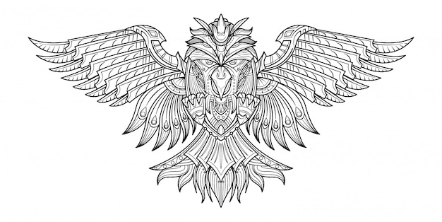 Vector hand drawn coloring book birds in my imagination. Premium Vector