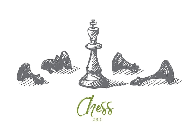 Vector hand drawn concept sketch of whipped chessmen and standing king in center with lettering Premium Vector
