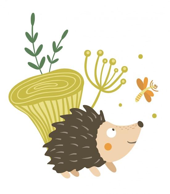 キノコとトンボのクリップアートとベクトル手描きフラットハリネズミ。とげのある動物が楽しんで面白い秋のシーン。かわいい森のイラスト Premiumベクター