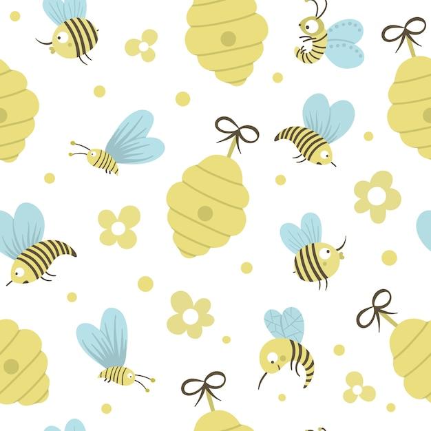 ベクターの手には、蜂の巣、蜂、花と描かれたフラットのシームレスなパターンが描かれています。蜂蜜の生産をテーマにしたかわいい面白い幼稚な繰り返しスペース。かわいい昆虫飾り Premiumベクター