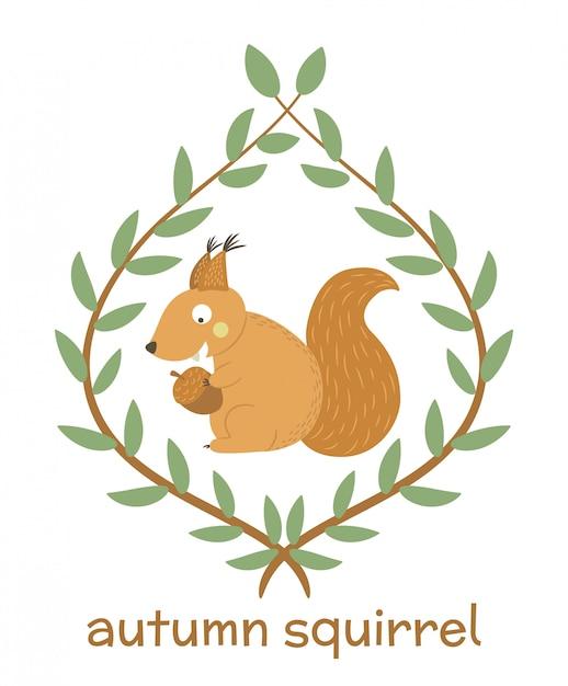 ベクターの手描きの葉の枝に囲まれたドングリを食べるフラットリス。森の動物と面白い秋のシーン。印刷用のかわいい森の動物のイラスト Premiumベクター