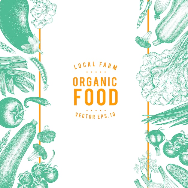 Vector hand drawn frame vegetables illustration. Premium Vector