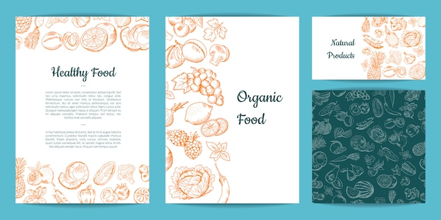 Vector hand drawn fruits and vegetables card, brochure, flyer, business card template Premium Vector