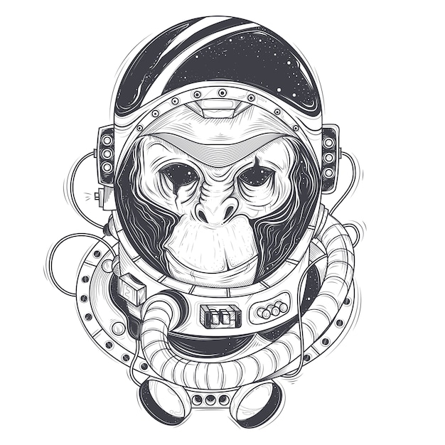 Vector hand drawn illustration of a monkey astronaut, chimpanzee in a space suit Free Vector