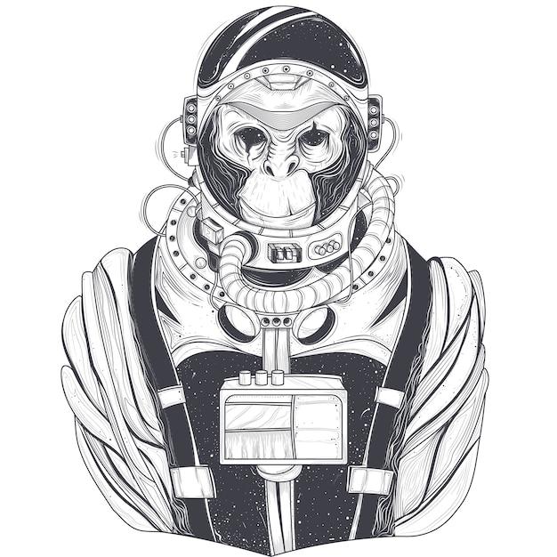 Illustrazione a mano vettoriale disegnata di un astronauta di scimmia, scimpanzé in un abito spaziale Vettore gratuito