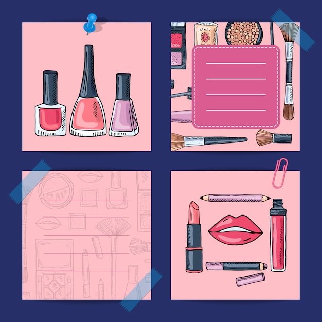 Vector hand drawn makeup products Premium Vector