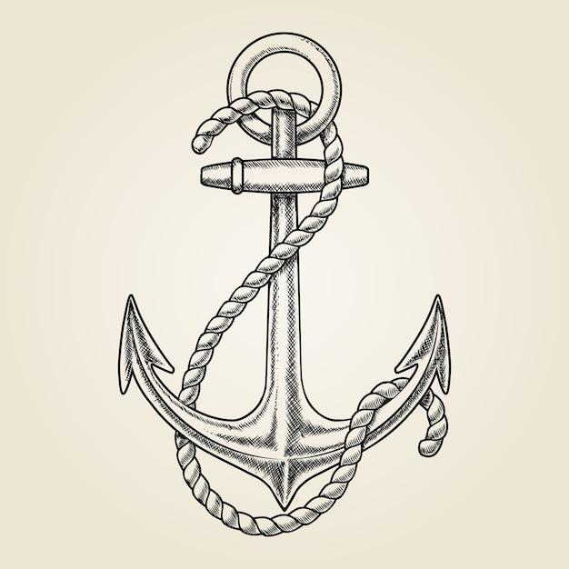 Vector hand drawn nautical anchor. element ship, drawing vintage, rope marine Free Vector