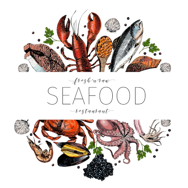 Vector hand drawn seafood colored banner Premium Vector