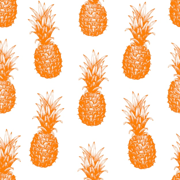 Vector hand drawn seamless pattern with pineapple Premium Vector