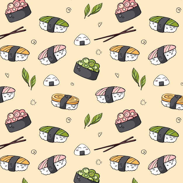 Vector  hand drawn seamless sushi pattern for print Premium Vector
