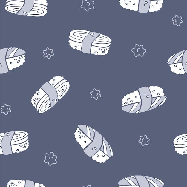 Vector hand drawn seamless sushi pattern Premium Vector