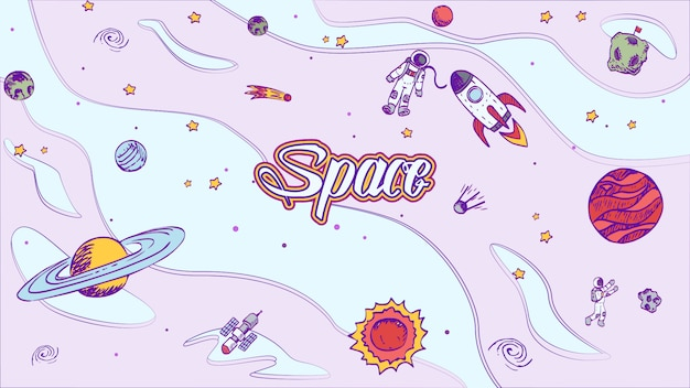 Vector hand drawn space design background with lettering. Premium Vector