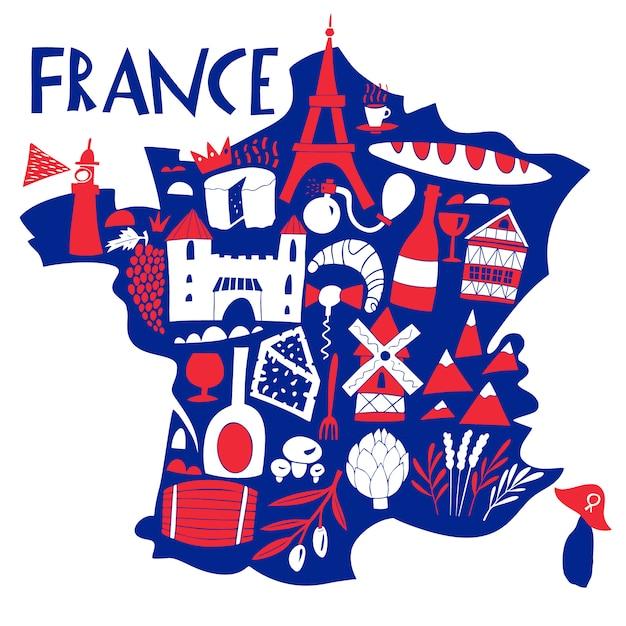 ベクトル手描きのフランスの様式化された地図。フランスのランドマーク、食べ物、植物のイラストを旅行します。地理図 Premiumベクター