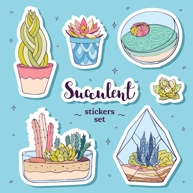 Vector hand drawn succulents stickers set Premium Vector