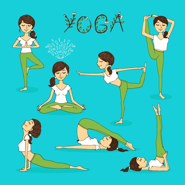 Vector hand-drawn yoga poses with a beautiful serene young woman in various balancing positions Free Vector
