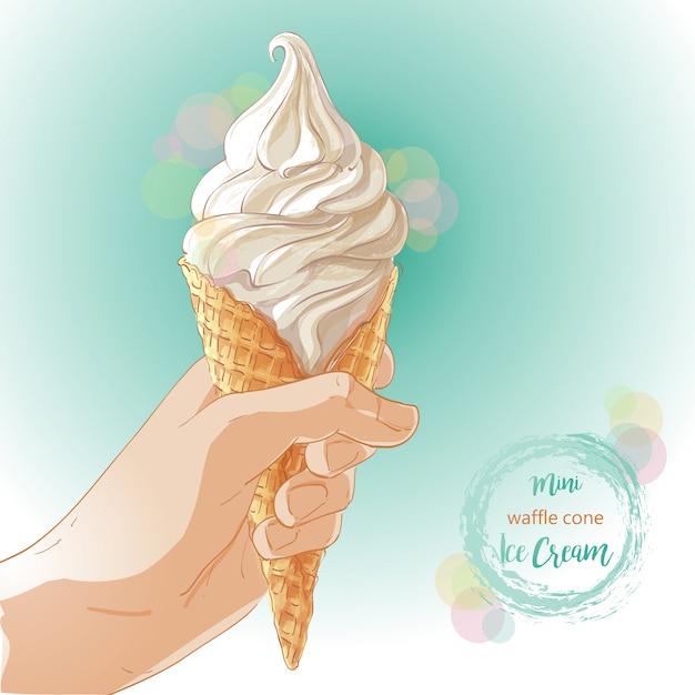 Vector hand holding ice cream in waffle cone Premium Vector