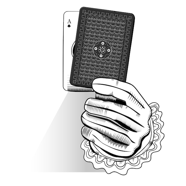 Vector of hand holding random playing card Free Vector
