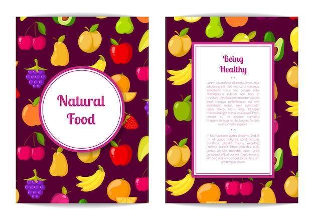 Vector handdrawn fruits and vegetables card, brochure, flyer template. natural food illustration Premium Vector