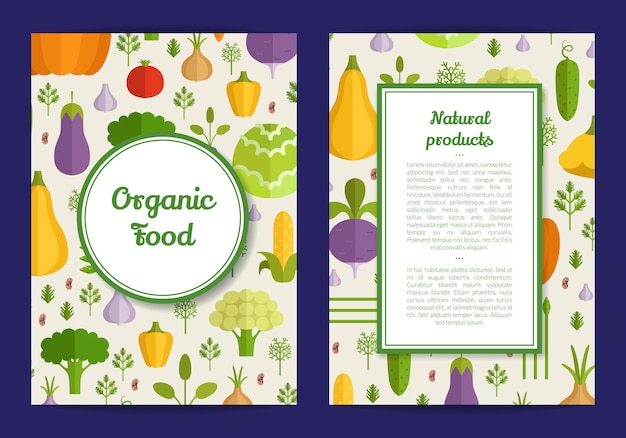 Vector handdrawn fruits and vegetables card, brochure, flyer template. organic food banner illustration Premium Vector